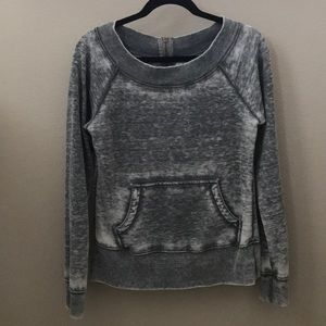Colorfast Zip Back Crewneck Long Sleeve Sweater